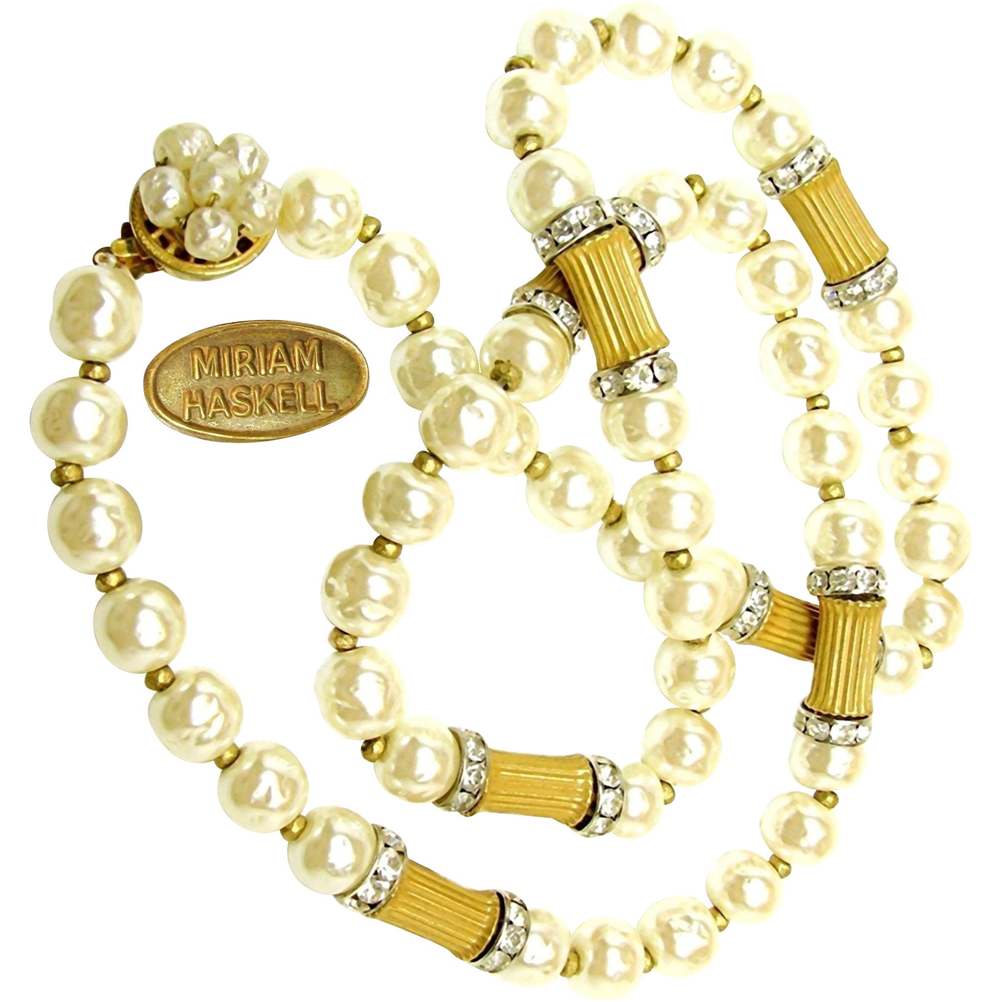 Vintage MIRIAM HASKELL BAROQUE Glass Pearl Necklace w/ Sparkling Rhinestone Rhondels