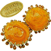 Yummy Vintage MIRIAM HASKELL Swirling Butterscotch Art Glass Earrings Haloed w/ Root Beer Drops