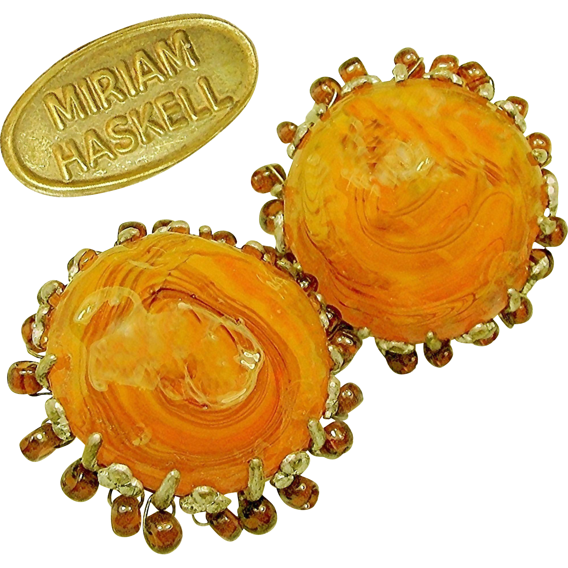 Vintage MIRIAM HASKELL Earrings of Swirling Yummy Butterscotch Art Glass Haloed w/ Root Beer Drops