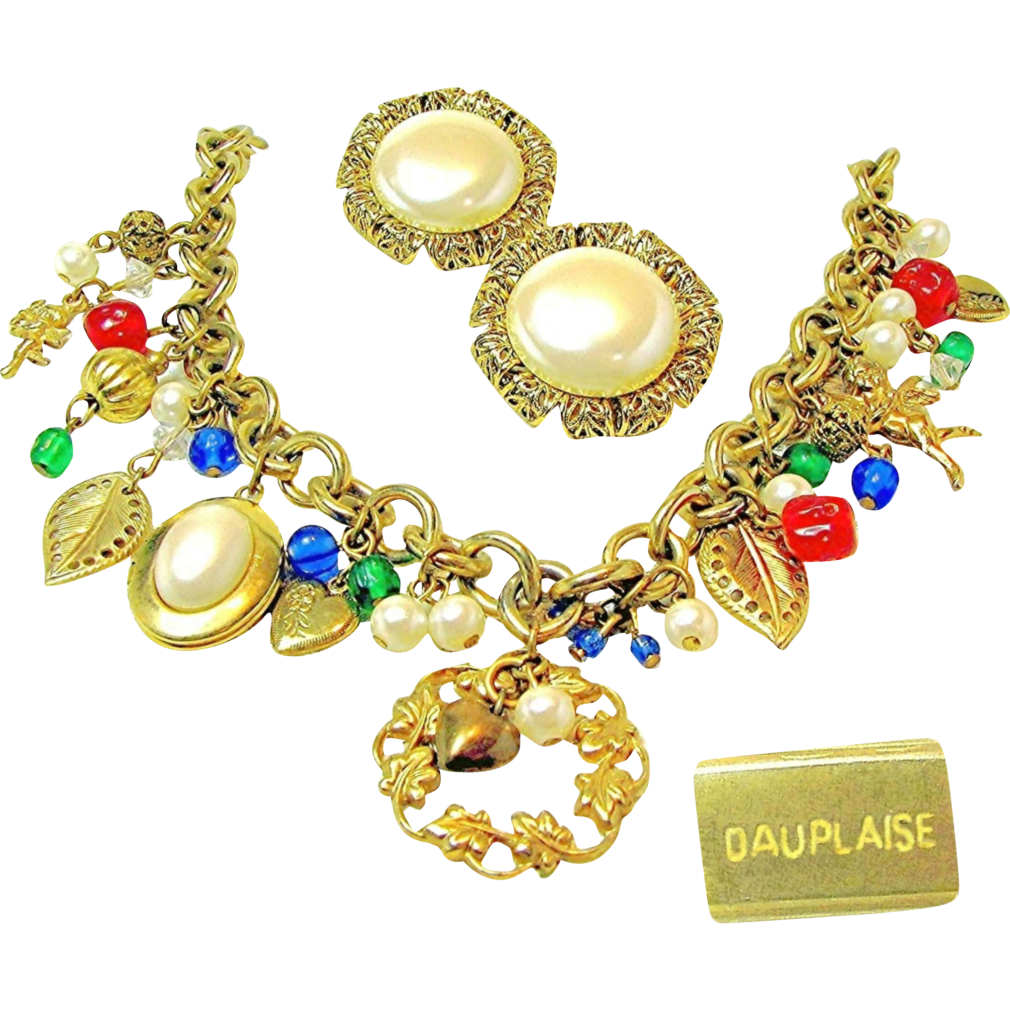Vintage DAUPLAISE CHARM NECKLACE w/ Earrings-Cherubs, Gilded Filigree 'n Glass