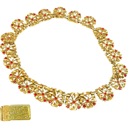 Stunning TRIFARI Flower BLOSSOM Links Necklace w/ Red Rhinestones Pat.1949
