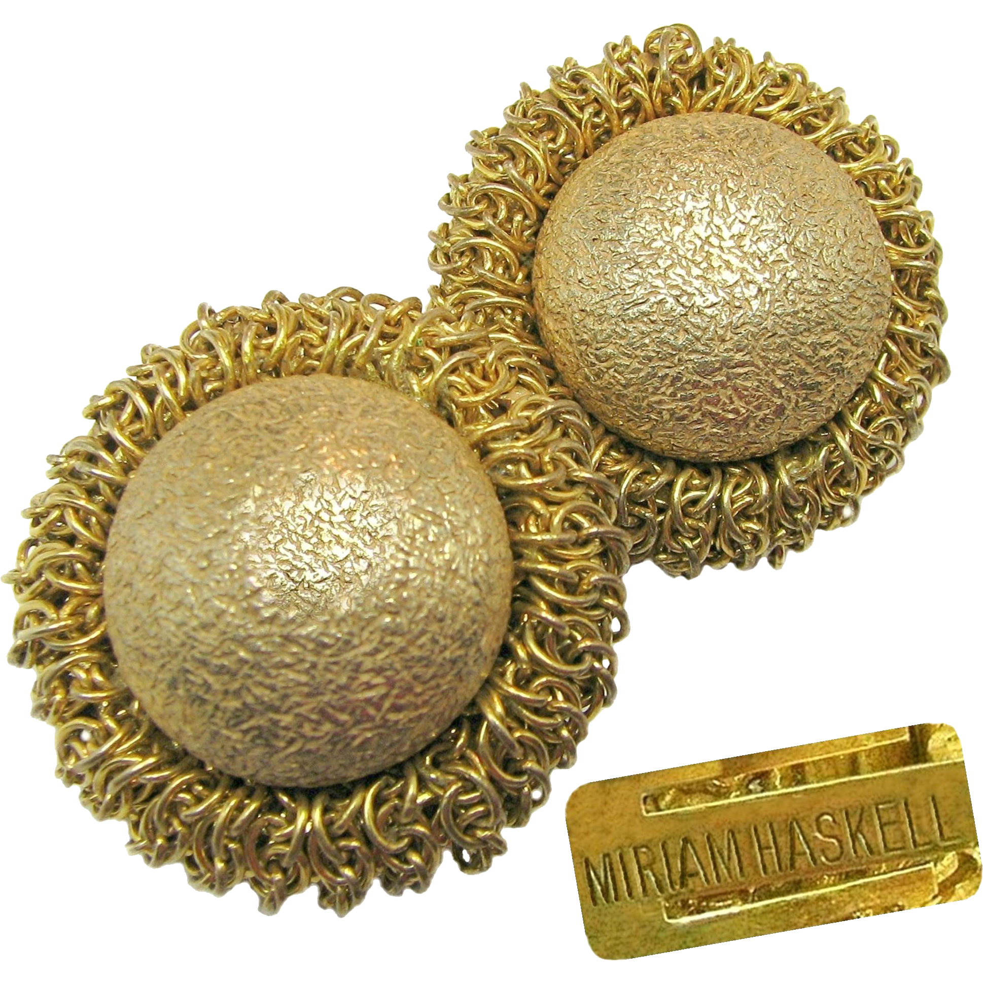 Vintage MIRIAM HASKELL Russian Gilt Classic 'Egg in the Nest' Earrings w/ Early Signature Clips