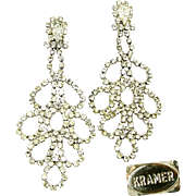 Dynamite KRAMER Rhinestone Shoulder Duster Earrings 1940's Hollywood DIVA