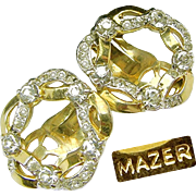 Golden MAZER Ribbon Wreath Earrings Strewn w/ 'Diamond' Like Rhinestones c.1950's