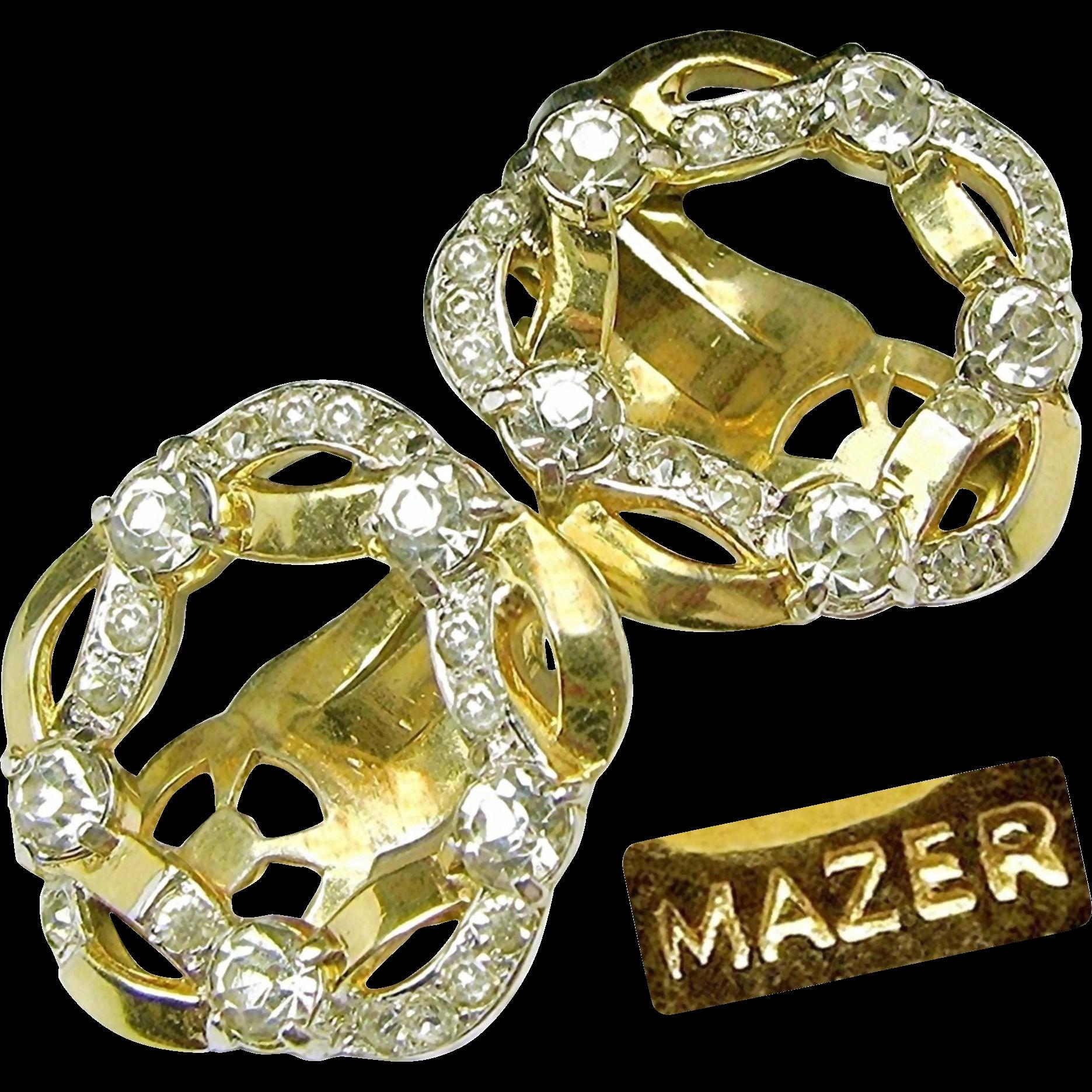 Vintage MAZER Golden Ribbon Wreath Earrings Strewn w/ 'Diamond' Like Rhinestones c.1950's