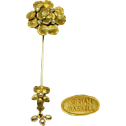 Vintage Miriam Haskell Pansy Russian Gilt Stick or Lapel Pin w/ Baroque Glass Pearls