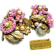 Vintage Miriam Haskell High End Earrings of Pate de Verre, Glass Pearls w/ Multi Layers of Russian Gilt Filigree