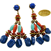 Vintage Miriam HASKELL Long Pendant Earrings-Famous Egyptian Line c.1970's
