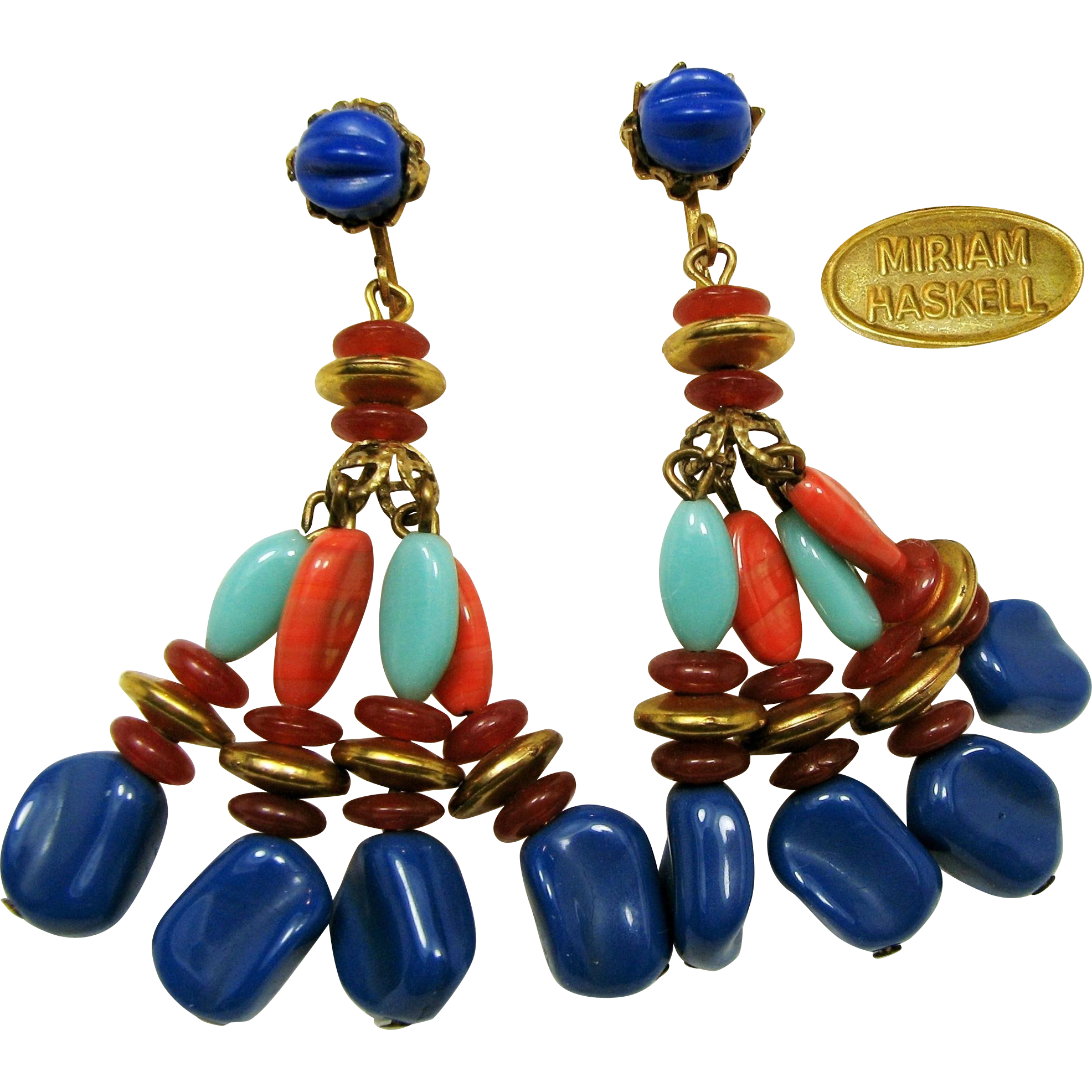 Vintage Miriam HASKELL Long Pendant Earrings-c.1970's Egyptian Line