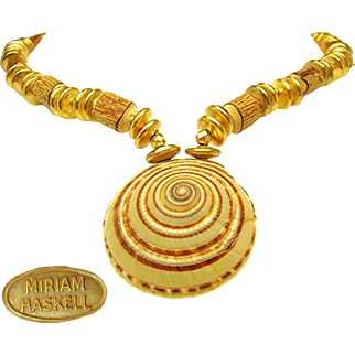 Vintage MIRIAM HASKELL SHELL Medallion Necklace w/ WOOD 'n Loads of Russian Gilt Accents