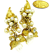 Vintage DeMARIO Floral Earrings in Drippy Glass Pearls 'n Rhinestones w/ M.O.P. c.1950's