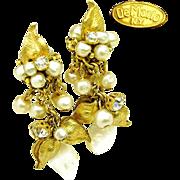 Drippy DeMARIO Floral Earrings of Glass Pearls, Rhinestones 'n M.O.P. c.1950's