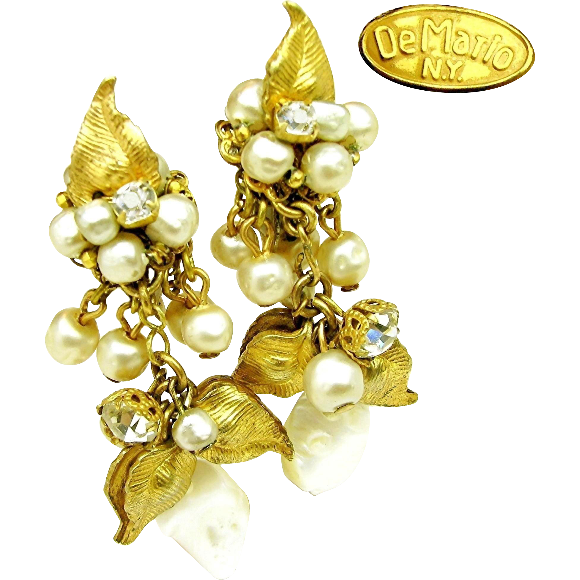 Vintage DeMARIO Drippy Floral Earrings w/ Glass Pearls 'n Rhinestones, M.O.P. too c.1950's