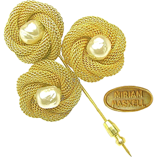 Vintage MIRIAM HASKELL Earrings 'n Stickpin of Baroque Glass Pearl Egg in Russian Gilt Chain Nests