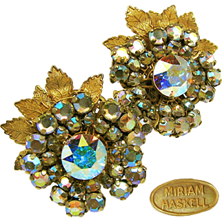 Vintage MIRIAM HASKELL Floral EARRINGS w/ Glitzy Aurora Borealis Rhinestones c.1950's