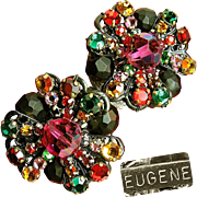 Elegant EUGENE Earrings of Rainbow Rhinestone Rose Montee w/ Faceted Black Glass c.1950's