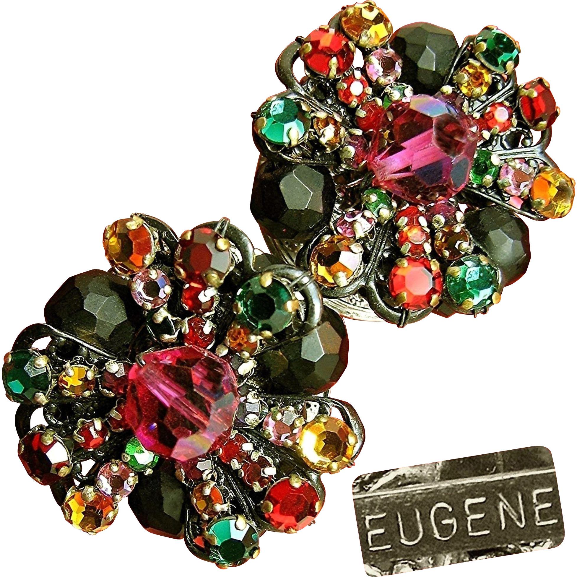 Elegant Vintage EUGENE Earrings of Rainbow Rhinestone Rose Montee w/ Faceted Black Glass c.1950's