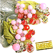 Vintage EUGENE Floral Earrings of Layers of Pink Rhinestones 'n Art Glass c.1950's