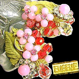 Vintage EUGENE Floral Earrings of Layers of Pink Rhinestones 'n Art Glass c.1950's