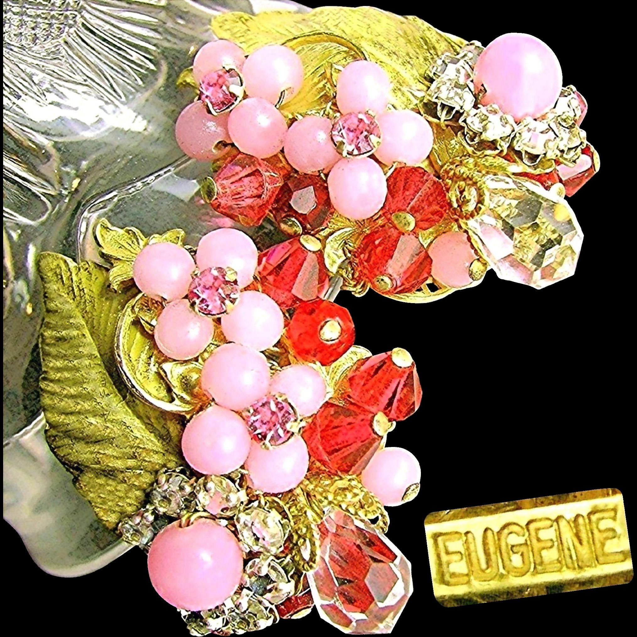 Vintage EUGENE Floral Earrings w/ Layers of Pink Rhinestones 'n Art Glass c.1950's