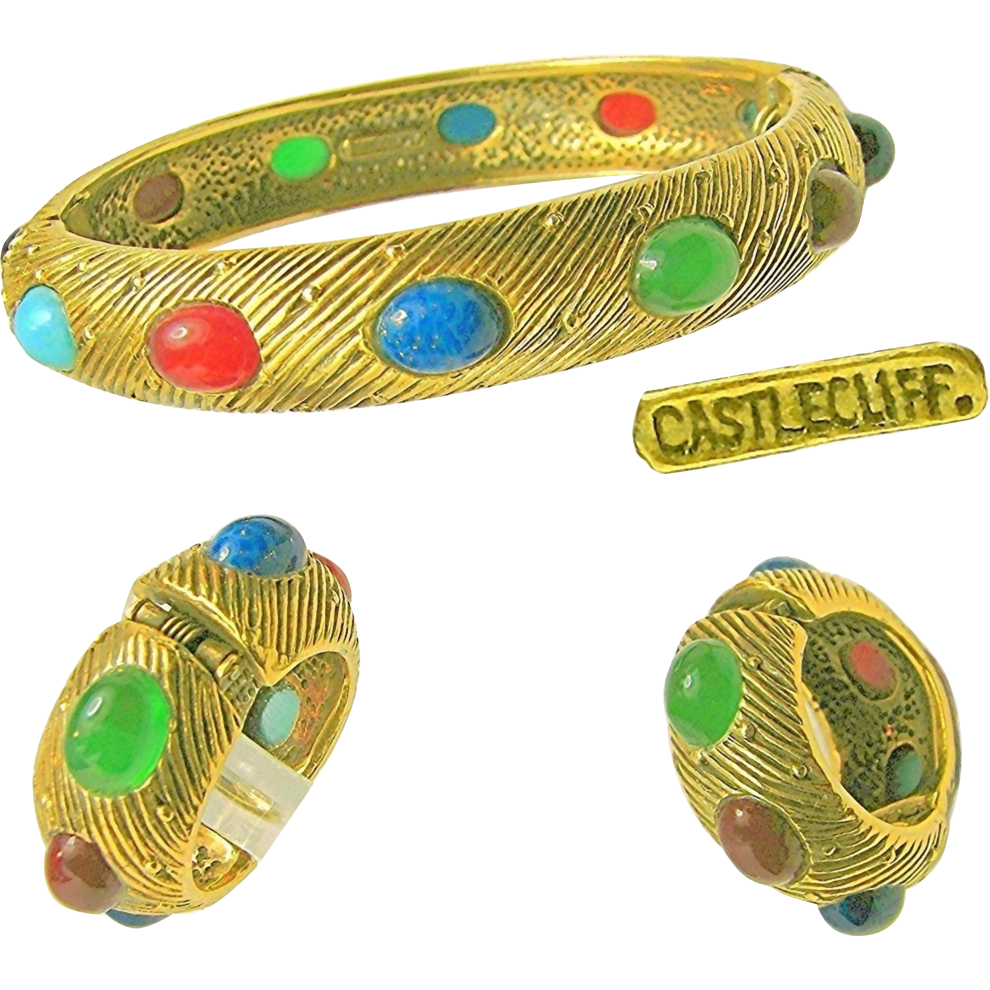 Vintage CASTLECLIFF Glass Studded 'BEAUTY BANDS' Bracelet 'n Earrings-Mogul Jewels of India