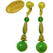 Vintage MIRIAM HASKELL Pendant Drop Earrings w/ Speckled Green Art Glass