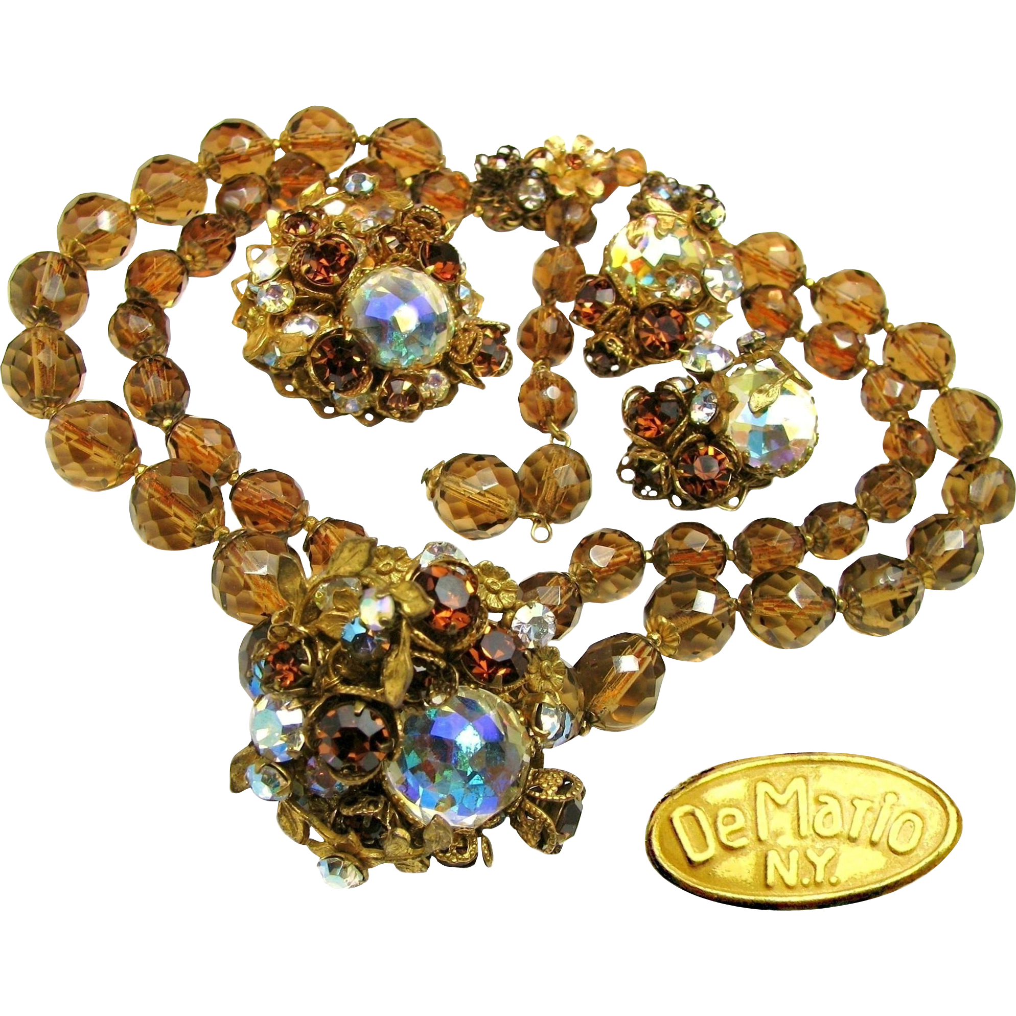 Vintage DeMARIO PARURE of Faceted Topaz 'n Aurora Borealis c.1950's All Glass Eye Candy