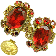 Vintage CZECH Earrings w/ Ravishing Red Rhinestones 'n Gilded Brass Filigree