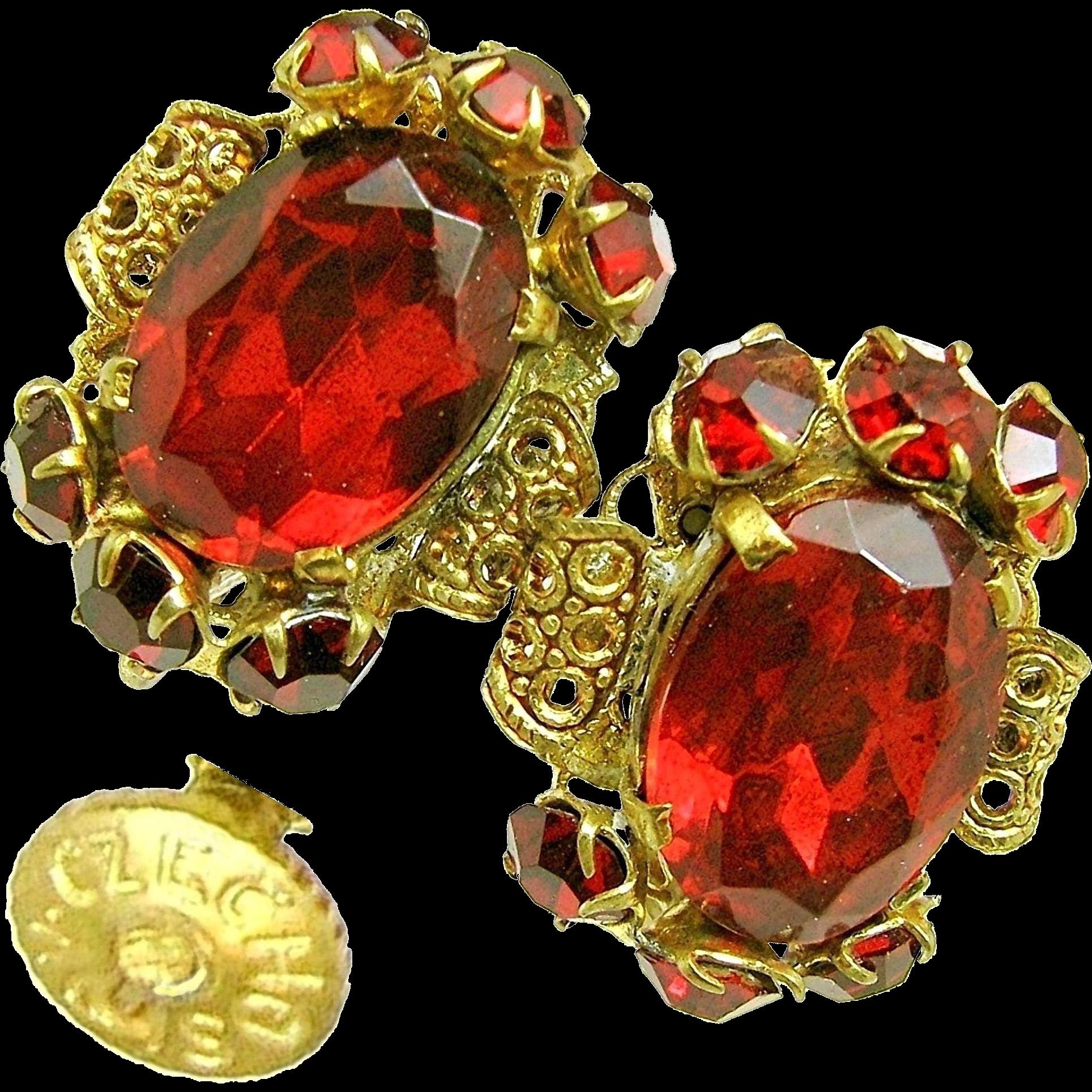 Vintage CZECH Earrings w/ Ravishing Red Rhinestones 'n Gilded Brass Filigree