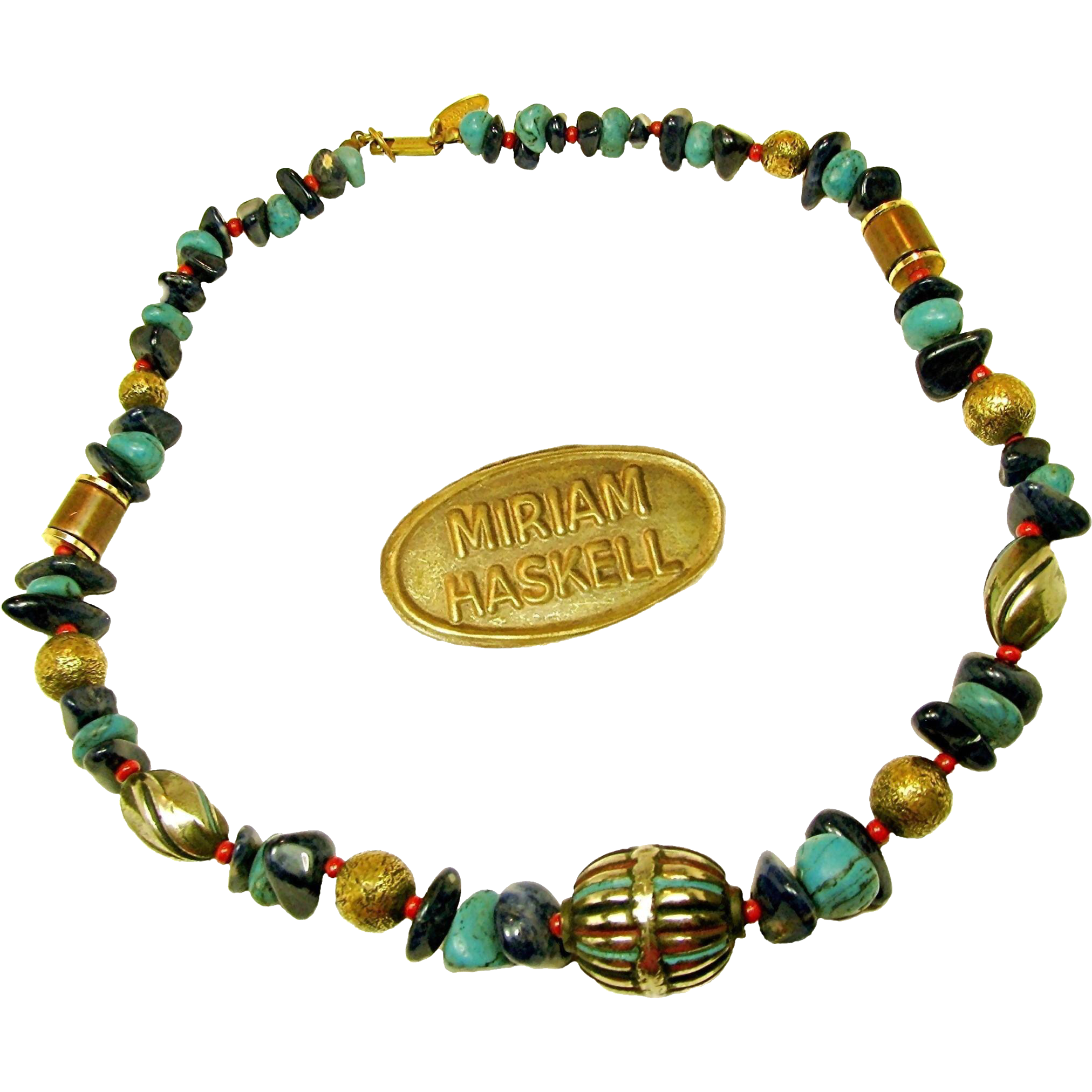 Vintage MIRIAM HASKELL Lapis 'n Turquoise Natural Stone Enhanced Necklace