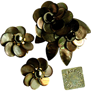 Vintage Exquisite French Floral Pin Clip Set c.1940's Signed Depose - Sultry Sable Abalone