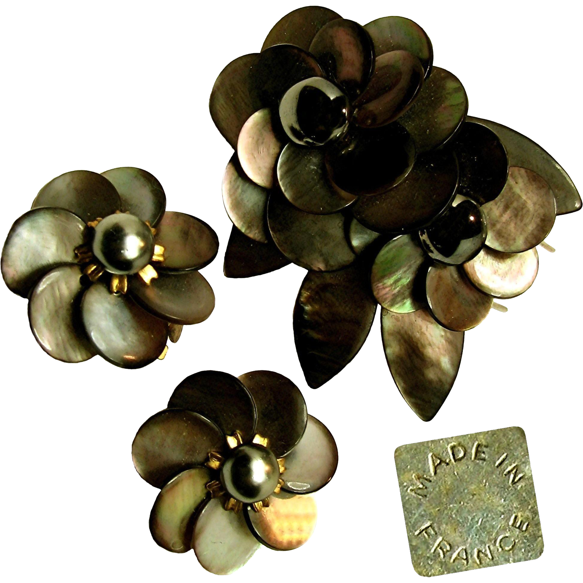 Rare Vintage French Floral Pin Clip Set c.1940's - Sultry Exquisite Sable Abalone