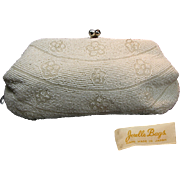 Mid-Century JORELLE  Glass Pearl Beaded Evening Clutch w/ Rhinestone KISS Clasp