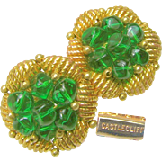 Vintage Castlecliff Earrings, Emerald Glass Nuggets 'n Gilded Nest c.1950's