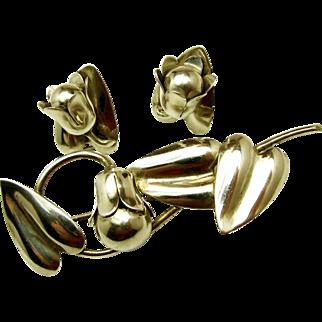 McCLELLAND BARCLAY Sterling Floral Brooch 'n Earrings - Exquisite c.1930's