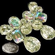 Vintage Kenneth J Lane Large Drippy Earrings Brilliant Rainbow Rhinestones