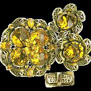 Vintage HollyCraft 1952 Rhinestone Brooch 'n Earrings
