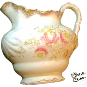 LaBelle China LEMONADE PITCHER w/ Pink Floral Transferware c.1900