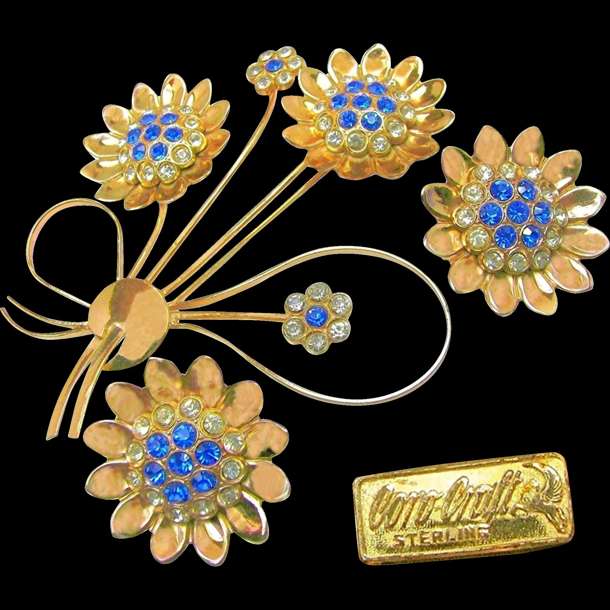 Vintage COROCRAFT STERLING Flower Brooch & Earrings Bookpieces w/ Rhinestones c.1940's