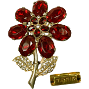 ART DECO Red Rhinestone Flower Lg Dress Clip w/ Patent 1801128