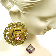 Vintage MIRIAM HASKELL ROSE Earrings w/ Pink Rhinestones Haloed by Rose Montee