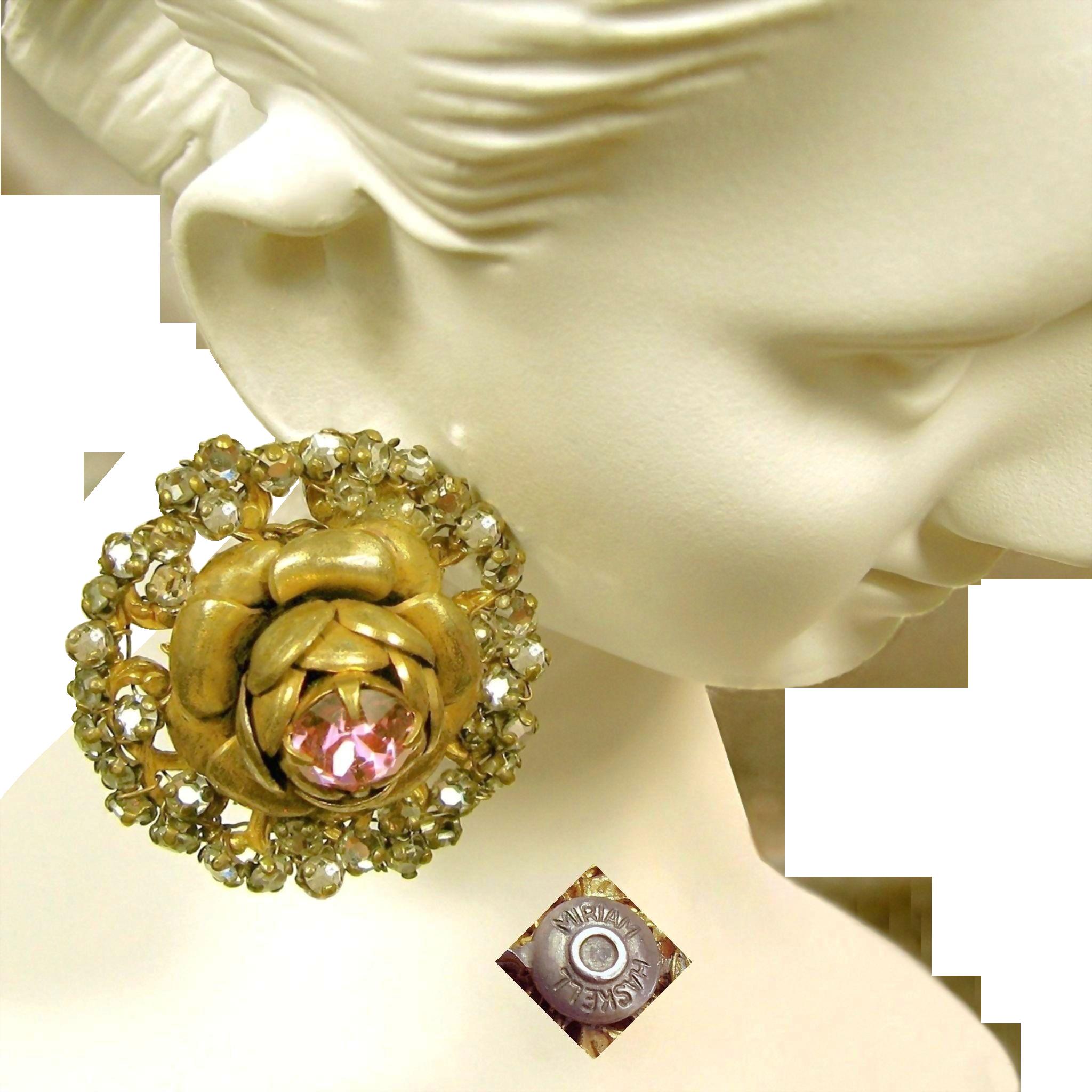 Vintage MIRIAM HASKELL Pink Rhinestone ROSE Earrings Haloed by Rose Montee