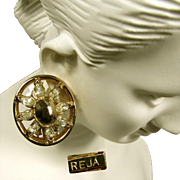 Vintage Sparkling Reja Rhinestone Earrings c.1940's