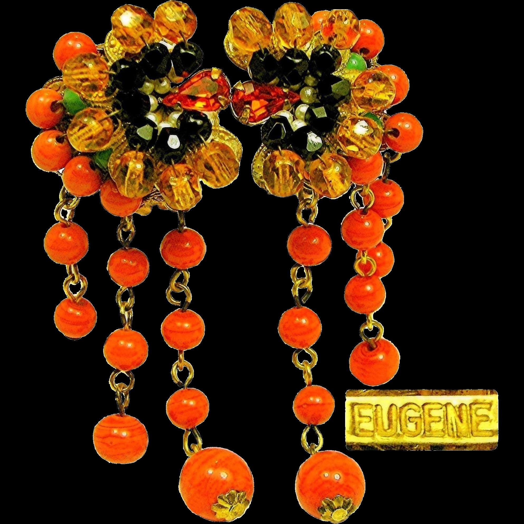 Vintage EUGENE Exotic Art Glass EARRINGS w/Drippy Tendrils c.1950's