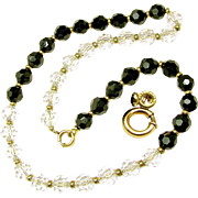Art Deco SIMMONS' Crystal Day-Night Style Necklace Orig. Chain Strung c.1930's