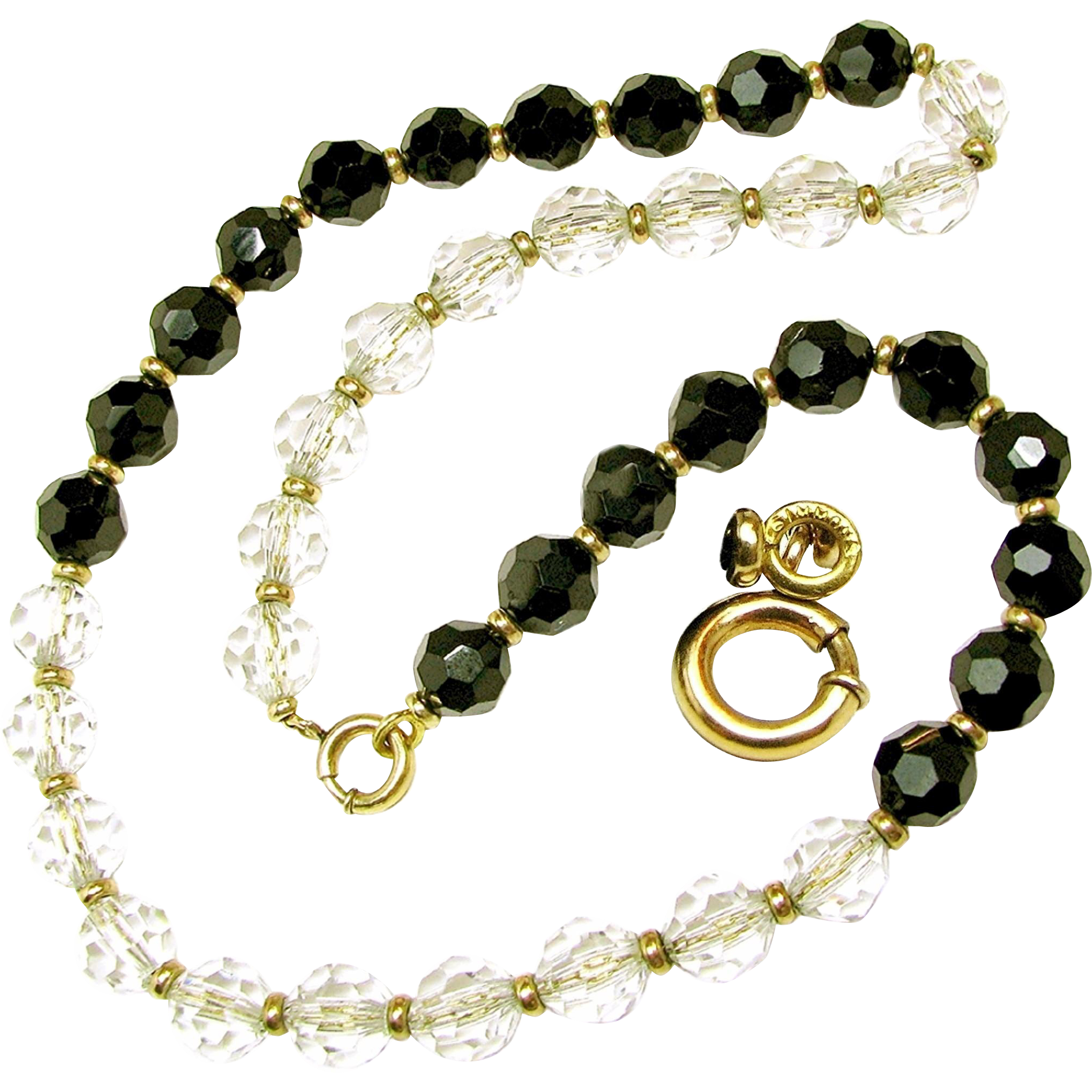 Art Deco SIMMONS' Crystal Day-Night Necklace on Orig. Chain c.1930's