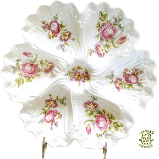 LIMOGES, France Deep Well OYSTER Plate w/ Pink Dresden Style Flower Bouquets c.1900
