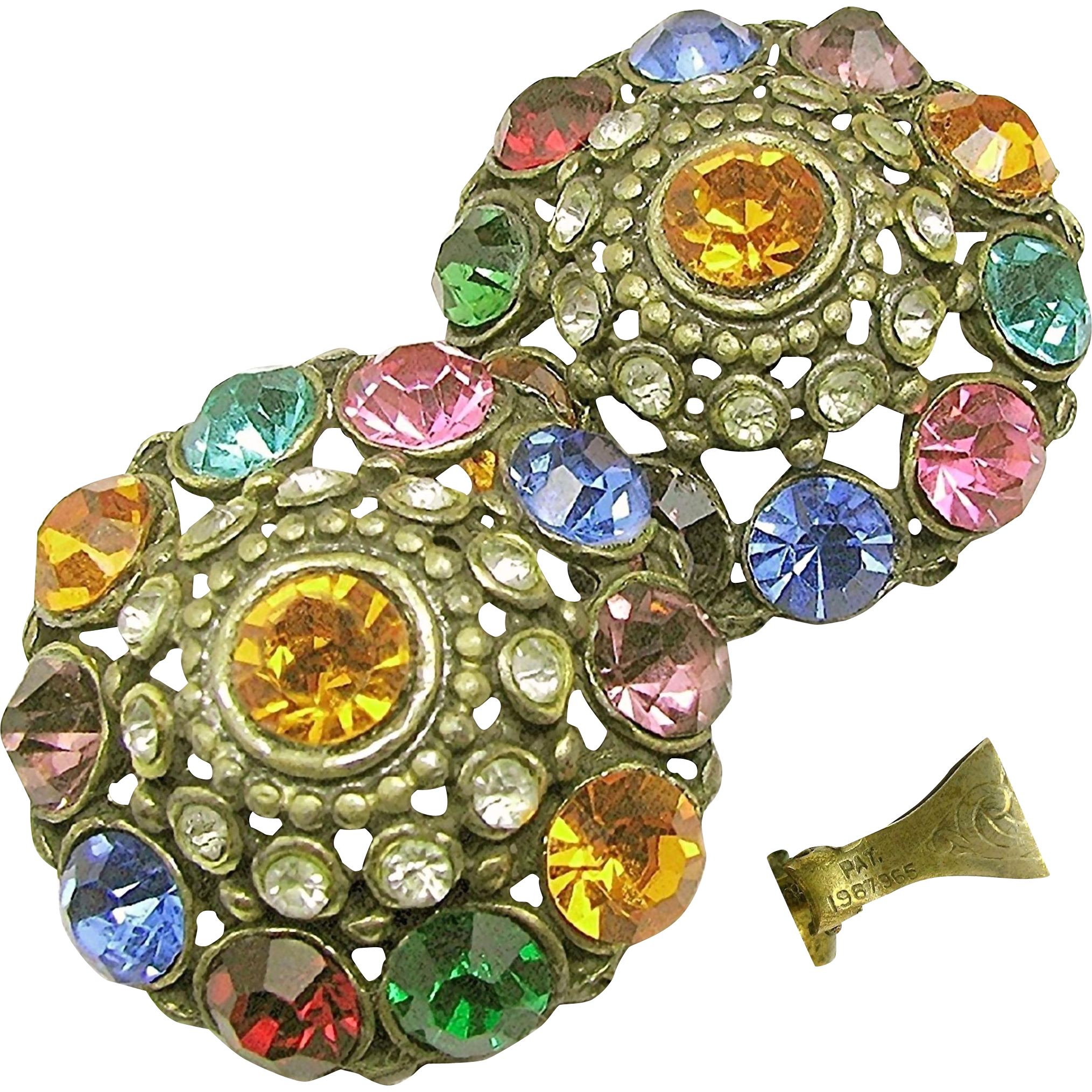 Art Deco Jewel-Tone Rhinestone Earrings 'n Clip Pat.1967965 c.1934