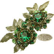 Vintage Silver Gilt De MARIO EARRINGS, Rich Green Rhinestones c.1950's