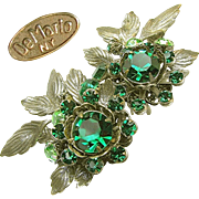 Vintage Large DeMARIO EARRINGS w/ Green Rhinestones 'n Antique Silver Gilt c.1950's